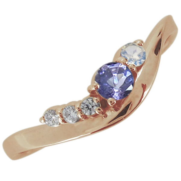 婚約指輪 エンゲージ 18金 天然石 選べる2石 リング シンプル おしゃれ