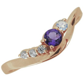 【ポイント5倍】婚約指輪 シンプル 天然石 アメジスト 2月 エンゲージリング 10金 上品