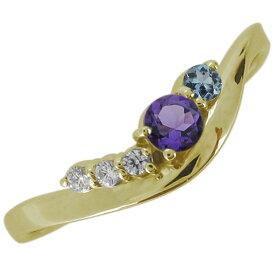【ポイント5倍】18金 婚約指輪 エンゲージリング アメジスト 2月誕生石 シンプル