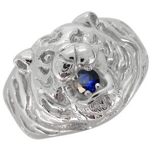 プラチナ 指輪 メンズ タイガー 虎 9月誕生石 サファイア リング