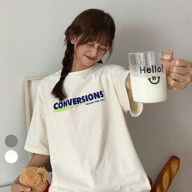 【10%offクーポン】Tシャツ tシャツ レディース メンズ 半袖 カジュアル 大きいサイズ 体型カバー オーバーサイズ 大きい ワンポイント 春 夏 韓国 ファッション 中国 プリント ロゴT トップス プリントT ビッグシルエット 韓国ファッション