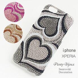 【送料無料】スマホケース スワロフスキーデコ iPhoneXR XS iPhone8 iPhone7 Xperia 1 XZ3 XZ2 XZ1 AQUOS GALAXYケース ハートプッチ柄ブラック ピンク ゴールド スワロデコ キラキラ アイフォン アクセサリー iPhoneケース スマホカバー他機種対応