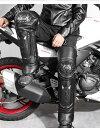 【送料無料】バイク用 プロテクター付き レッグウォーマー 暖かい裏起毛 防寒 レザー ブラック 風を通さない 簡単脱着