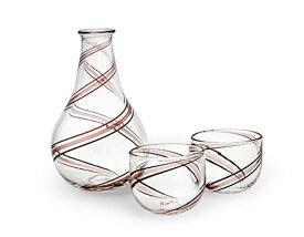 高梨良子 酒器セット(銅赤)吹きガラス作家 高梨良子さんによる、徳利とお猪口2つの酒器セットギフト プレゼント 贈物吹きガラス工法キッチン用品インテリア