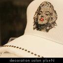 ダメージキャップ スワロフスキー 帽子デコ 選べるカラー キャップデコ マリリンモンローデザイン プレゼント