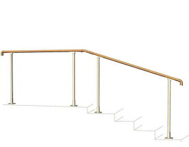 玄関 手すり 手摺 エトランポU 笠木目板 ベースプレート支柱 上面タイプ 1段セット 水勾配2゜まで対応 階段