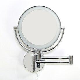 拡大鏡 ホテルミラー ライト付き 壁付け 両面 鏡 3倍 LED ライト付 伸縮 ウォールミラー スイングミラー 化粧ミラー 洗面 洗面台 メイク 後頭部 スキンケア 北欧 【送料無料】