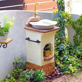 立水栓 おしゃれ スタンドウォッシュ リリー 2口 蛇口 補助蛇口付 ディーズガーデン 手洗い場 外 水道 外水栓 ガーデンパン