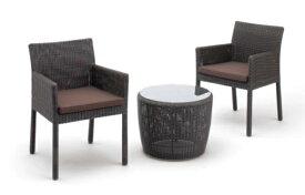 ガーデンソファー サイドテーブル+スクエアチェアー2脚セット ダークブラウン クッション付 送料無料