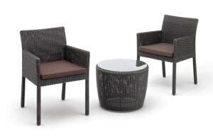 ガーデンソファー サイドテーブル+スクエアチェアー2脚セット ダークブラウン クッション付 ガーデンチェアー グランピング ベランピング おうちキャンプ