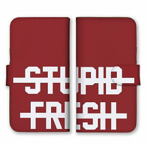 スマホケース 全機種対応 アンドロイド ケース 手帳型 STUPID FRESH 元気のよいバカ ロゴ 英字 英語 シンプルレッド ホワイト 赤 白 かっこいい カードホルダー付き カード収納 合皮 合成レザー