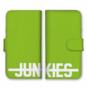 スマホケース 全機種対応 アンドロイド ケース 手帳型 JUNKIES ジャンキー 中毒者 ロゴ 英字 英語 シンプル グリーン ホワイト 緑色 白 かっこいい カードホルダー付き カード収納 合皮 合成レ