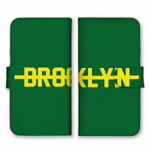 スマホケース 全機種対応 アンドロイド ケース 手帳型 BROOKLYN ブルックリン ニューヨーク ロゴ 英字 英語 シンプル グリーン イエロー 緑色 黄色 かっこいい カードホルダー付き カード収納