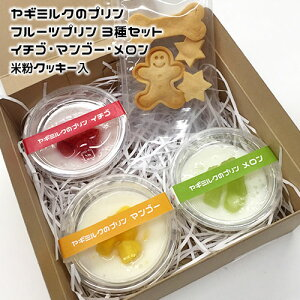 ヤギミルクのプリン フルーツプリン3種セット イチゴ・マンゴー・メロン 米粉クッキー入 冷凍パック【クール便発送】