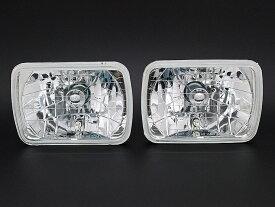 H4 2灯 角型 ヘッドライト 高性能LEDポジションランプ付き 2個セット 角目 ガラス製