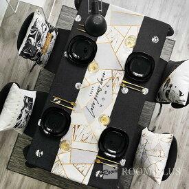 テーブルランナー ブラック ホワイト 大理石柄 モノトーン ダイニングテーブル 新生活 table-r0116