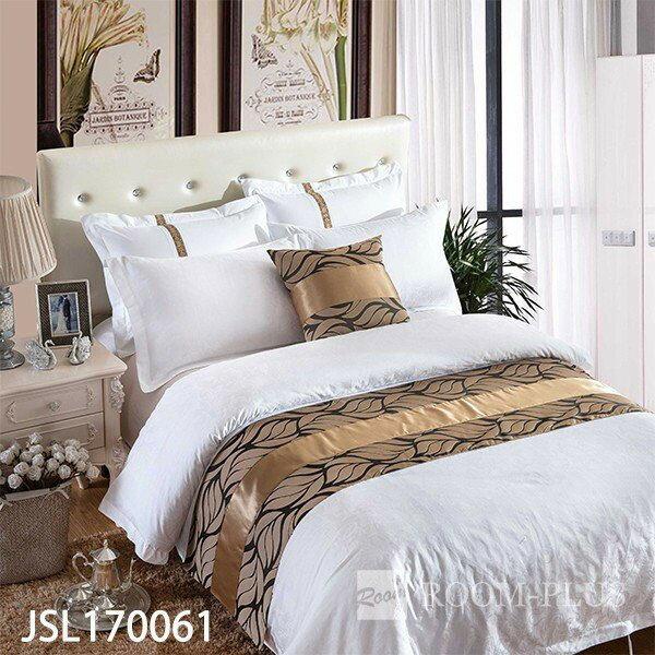 ベッドスロー ベッドライナー フットライナー フットスロー ブラック/ゴールド ホテル用品 br-0406