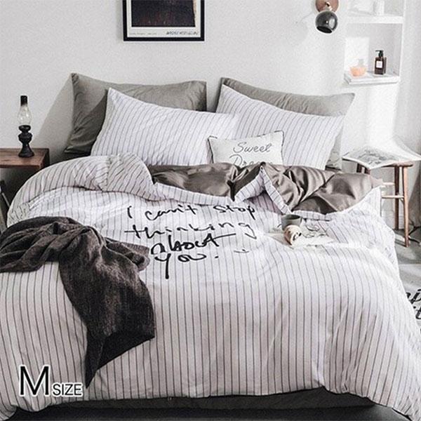 布団カバー セット 4点セット 白黒 モノトーン 送料無料 在庫限り Mサイズ bedding-0522