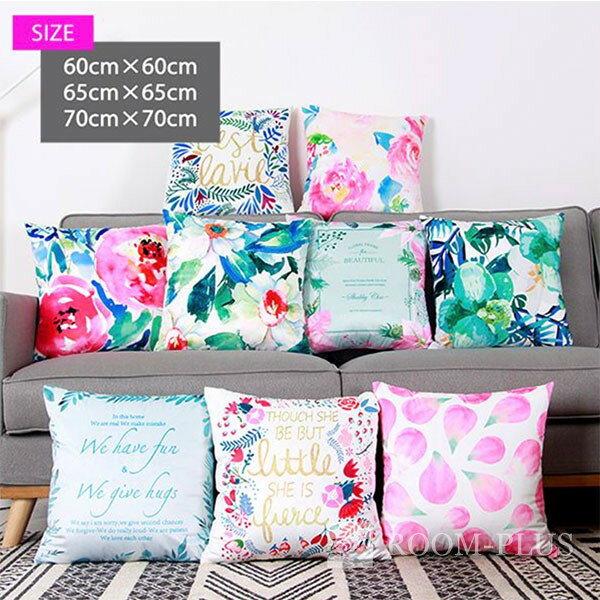 クッションカバー 60×60 65×65 70×70 アジアン カラフル ホワイト ピンク グリーン ブルー フラワー 花柄 植物 北欧 c-0101