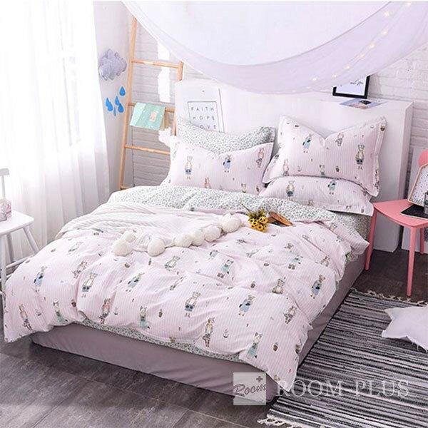 布団カバー 3点セット シングルサイズ ピンク アニマル柄 デザイン bedding-0011
