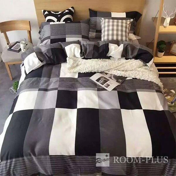 布団カバー 3点セット シングルサイズ ブロックチェック モノトーン モノクロ 白黒 北欧 bedding-0002