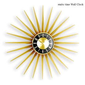 壁掛け時計 emits time エミッツタイム 掛け時計 HS-024G 60cm 大きい おしゃれ 北欧 アート ゴールド ブラック 新築祝い ウォールクロック 時計