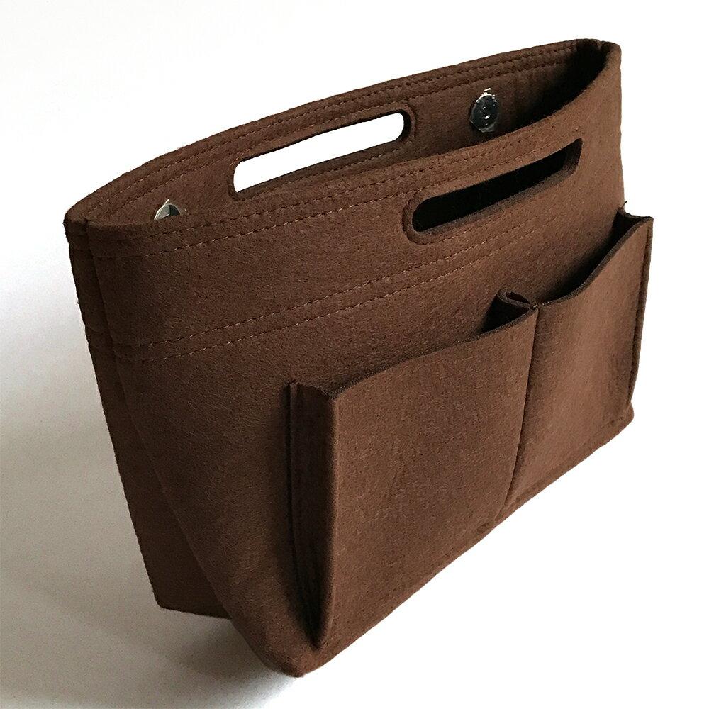 バッグインバッグ 大きめ 軽い フェルト インナーバッグ A4 バッグ ポーチ レディース バッグの中を整理整頓 バッグが自立 バックインバック ダークブラウン [cravate]