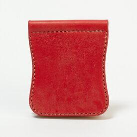 マネークリップ メンズ 革 サドルレザー ハンドメイド 日本製 高級革 札ばさみ カードケース 財布 国内屈指のタンナー なめし 丸みをおびたデザイン [K67]
