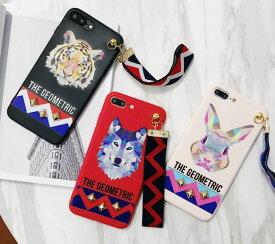 iphone ケース ジオメトリック アニマル トラ オオカミ ウサギ スタッズ ストラップ付き iPhone 7 8 X XR XS XSMax ケース クール おもしろ 韓国 耐衝撃 スマホケース アイフォン カバー 幾何学模様 軽量 おしゃれ かわいい 誕生日 記念日 select ギフト プレゼント