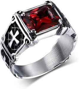 ファッション アクセサリー メンズリング クロス 十字架 指輪 クロムハーツ風 印台リング おしゃれ ステンレススチール ヴィンテージ レッドストーン クロスリング ゴシック バイカー ヨー
