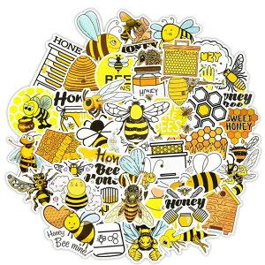 ミツバチ 蜜蜂 ステッカー 50枚セット ラベルステッカー ブランド おしゃれ デコ キャラクター おもしろ かわいい 防水 パソコン スマホ ハワイ 自転車 バイク スーツケース ヘルメット 大量