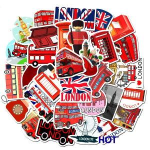ロンドン ステッカー 50枚セット ラベルステッカー 赤 ブランド おしゃれ デコ キャラクター おもしろ かわいい 防水 パソコン スマホ ハワイ 自転車 バイク スーツケース ヘルメット 大量 手