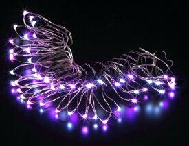 自動タイマー電池式LEDワイヤーライト パープル&ホワイト WG-3383 クリスマスイルミネーション