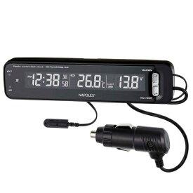 【送料無料】VTメータークロック Fizz-1025 ナポレックス 車用 電波時計 ピアノブラック アイドリングストップ車対応 2色LED