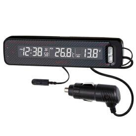 【送料無料】VTメータークロック Fizz-1026 ナポレックス 車用 電波時計 温度計 電圧計 カーボン柄 路面凍結センサー バックライト付 フルスペック