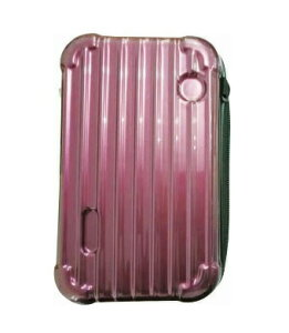 【送料無料】スーツケース型ポーチ ストライプ柄 紫 SA-478 サントス プレゼント