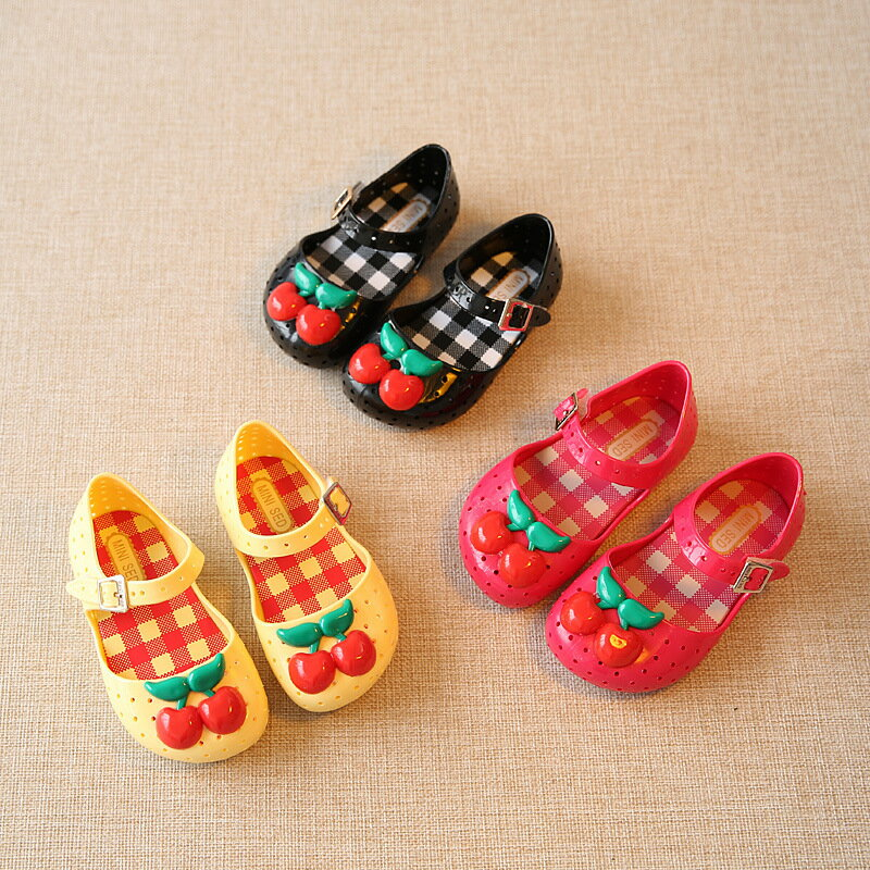 ラバーシューズ ラバーサンダル 靴 くつ 子供用 キッズ KIDS 女の子 女児 さくらんぼ サクランボ チェリー ストラップ ぺたんこ フラット 可愛い カジュアル