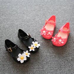 送料無料ラバーシューズラバーサンダル靴くつ子供用キッズKIDS女の子女児フラワーモチーフお花ストラップぺたんこフラット可愛いカジュアル