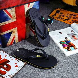 送料無料サンダル メンズ レディース ビーチサンダル カジュアル シンプル ロゴ ブラック イエロー ブルー ブラウン