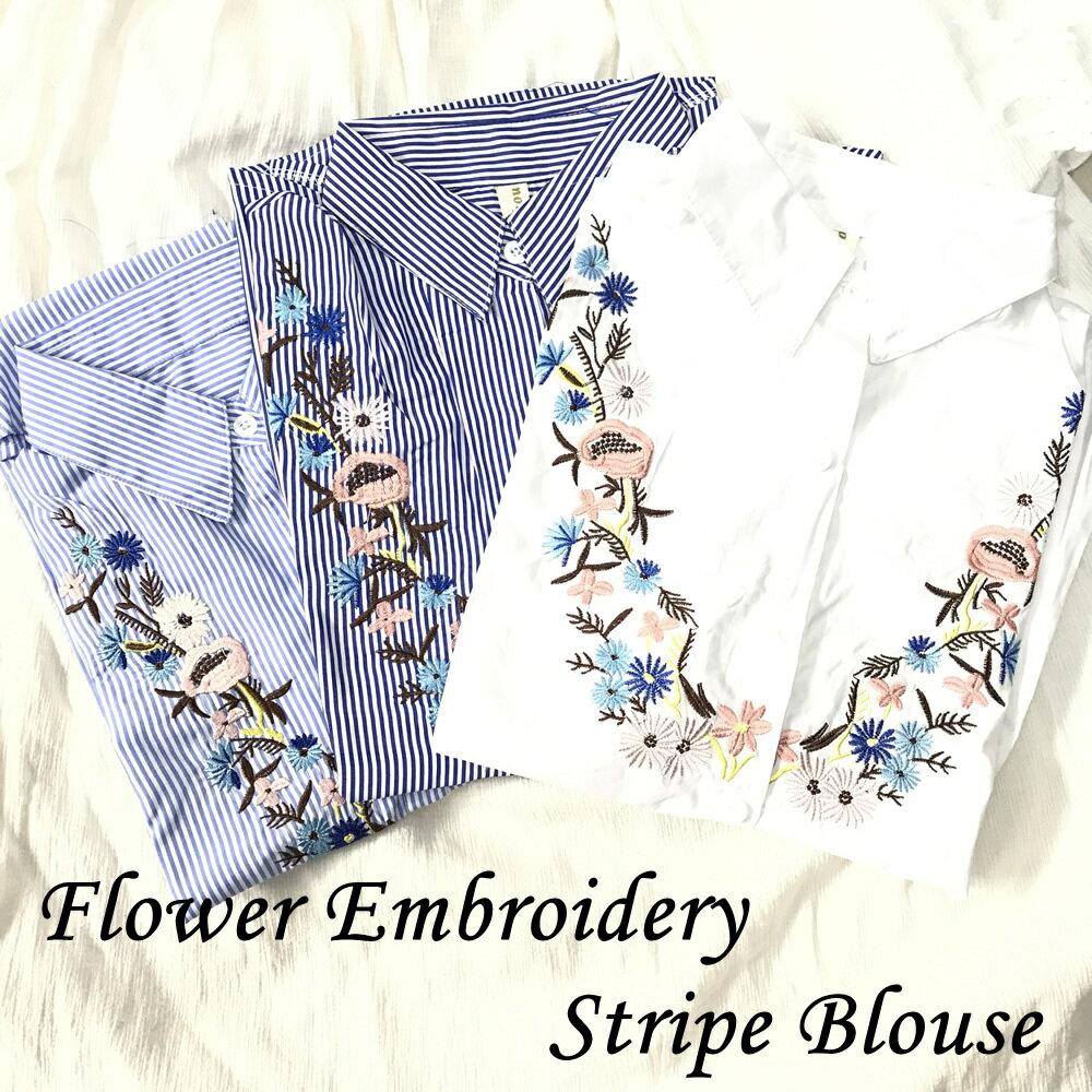 送料無料 花柄刺繍ブラウス ストライプ 無地 シャツ 半袖トップス レディース