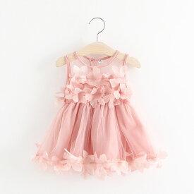 b63331f633ae2 ドレス ワンピース フォーマル ノースリーブ 花びら かわいい 上品 おしゃれ 女の子 女児 キッズ ベビー 幼児 結婚式 発表