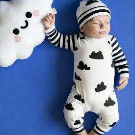 ロンパース 長袖 長ズボン 雲柄 ボーダー おしゃれ かわいい キュート 新生児 男女兼用 男の子 女の子 ベビー 子ども キッズ 幼児 乳児 レディース