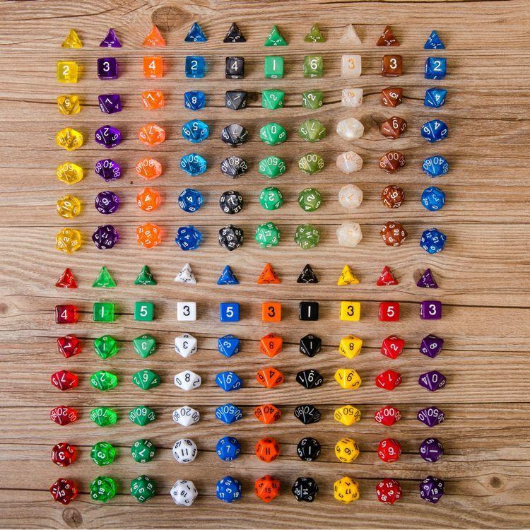 7個セット 7種類 20色 多面 サイコロ ダイス 四角 ダイヤ型 五角形 三角 二十面体 面白い カラー豊富 数字 おもちゃ すごろく パーティー イベント