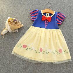 ワンピース半袖膝丈プリンセスお姫様かわいいキュート女の子女児幼児ガール子どもキッズジュニア小学生トップスおしゃれリボンフレア
