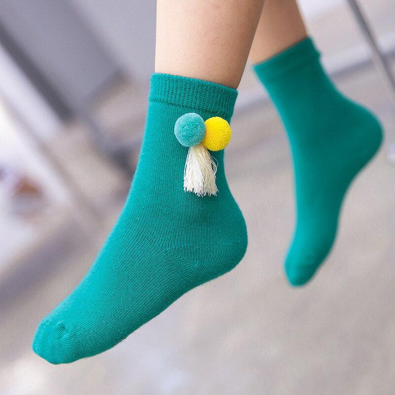 送料無料 靴下 ソックス ベビー キッズ クルーソックス ボンボン付き フリンジ付き かわいい カジュアル ベビーソックス キッズソックス ベビー靴下 キッズ靴下