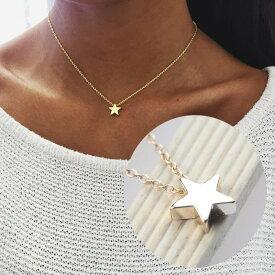 送料無料ネックレス ペンダント スター 星型 ジュエリー アクセサリー レディース キラキラ シンプル 上品 おしゃれ 可愛い 女性用 記念日 デート 誕生日 プレゼント 贈り物 ギフト シルバーカラー ゴールドカラー