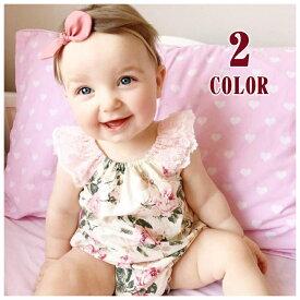 aaf0f6b3e57a8 ベビーロンパース ベビーサロペット ベビー服 ベビーウェア 春 夏 赤ちゃん 花柄 フラワープリント レース ノースリーブ