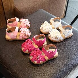 サンダル ベビー キッズ フラワー 歩きやすい フラット かわいい 靴 シューズ 春物 やわらかい マジックテープ