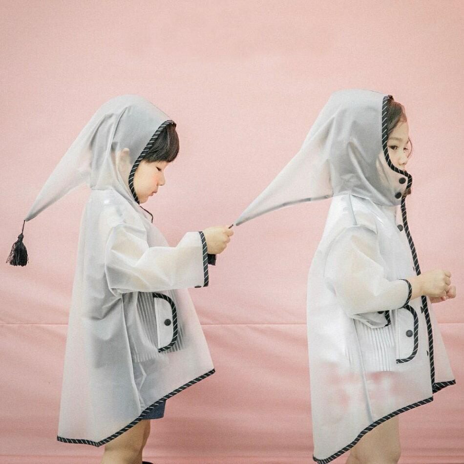 レインコート とんがりフード付き カッパ 雨合羽 雨がっぱ トンガリ帽子 タッセル付きフード レインウェア レインウエア 雨具 おしゃれ 子供用 半透明 女の子 男の子 女児 男児 キッズ 子ども用 こども用 高学年 ジュニア 中学生 S M L XL