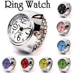 送料無料リングウォッチ指輪時計指時計アナログラウンドウォッチ丸型クロックリング指輪型時計フィンガーウォッチ男女兼用ユニセックスおしゃれ可愛いかわいいカジュアルレディースメンズ女性用男性用クオーツクォーツプレゼント贈り物
